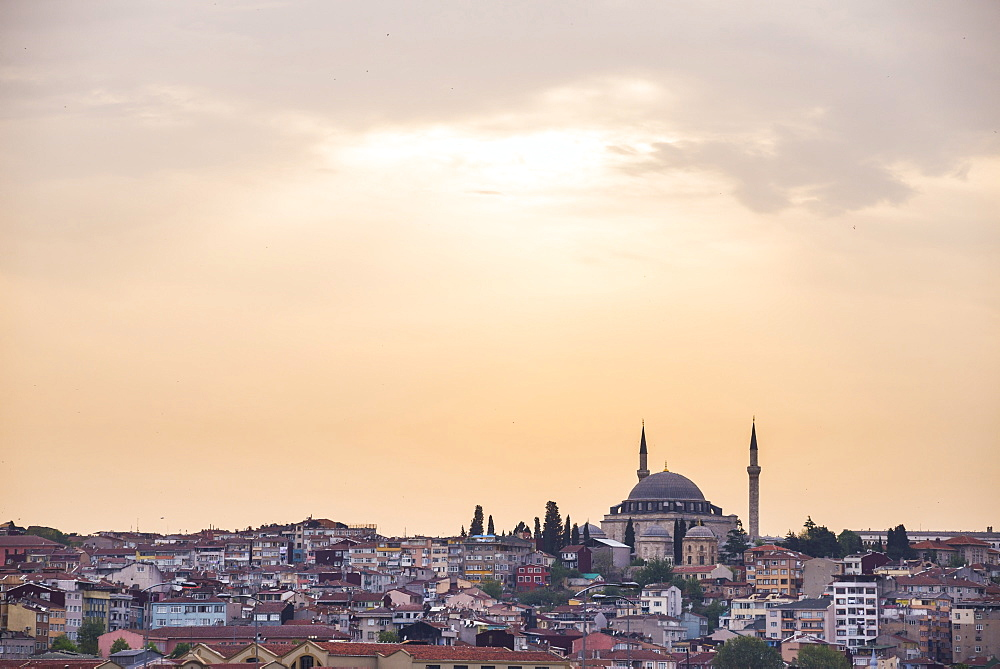 Hilltop mosque at sunset, Istanbul, Turkey, Europe