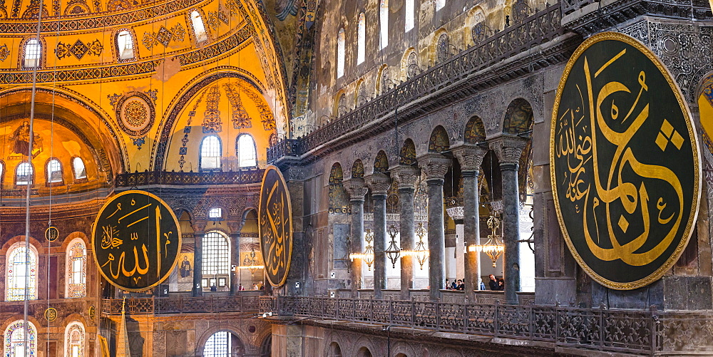 Inside Hagia Sophia, which has been a church, a mosque and is now a museum, UNESCO World Heritage Site, Istanbul, Turkey, Europe