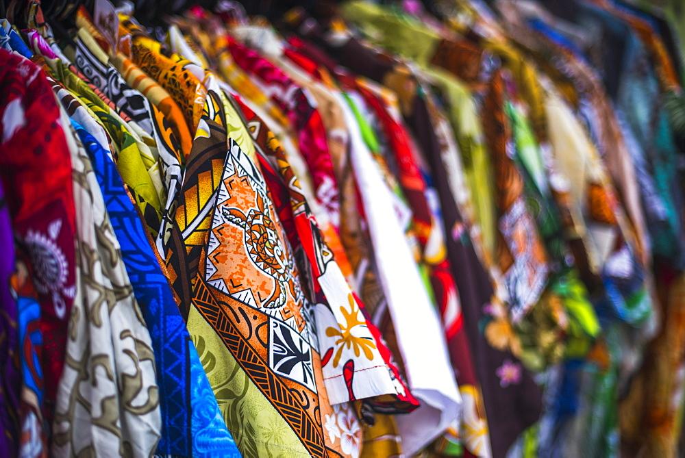 Hawaiian shirts for sale at Rarotonga Saturday Market (Punanga Nui Market), Avarua Town, Cook Islands, South Pacific, Pacific - 1109-1960