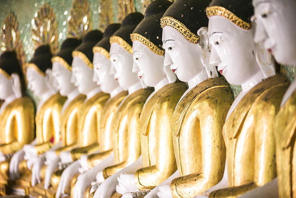 Some of the 45 large Buddha Images at Umin Thounzeh, a Buddhist temple on Sagaing Hill, Mandalay, Myanmar (Burma), Asia