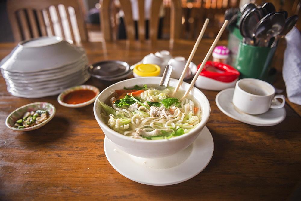 Traditional Burmese noodle soup, Mawlamyine, Mon State, Myanmar (Burma), Asia