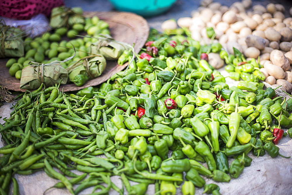 Green chillies at Ywama Village Market, Inle Lake, Shan State, Myanmar (Burma), Asia - 1109-2475