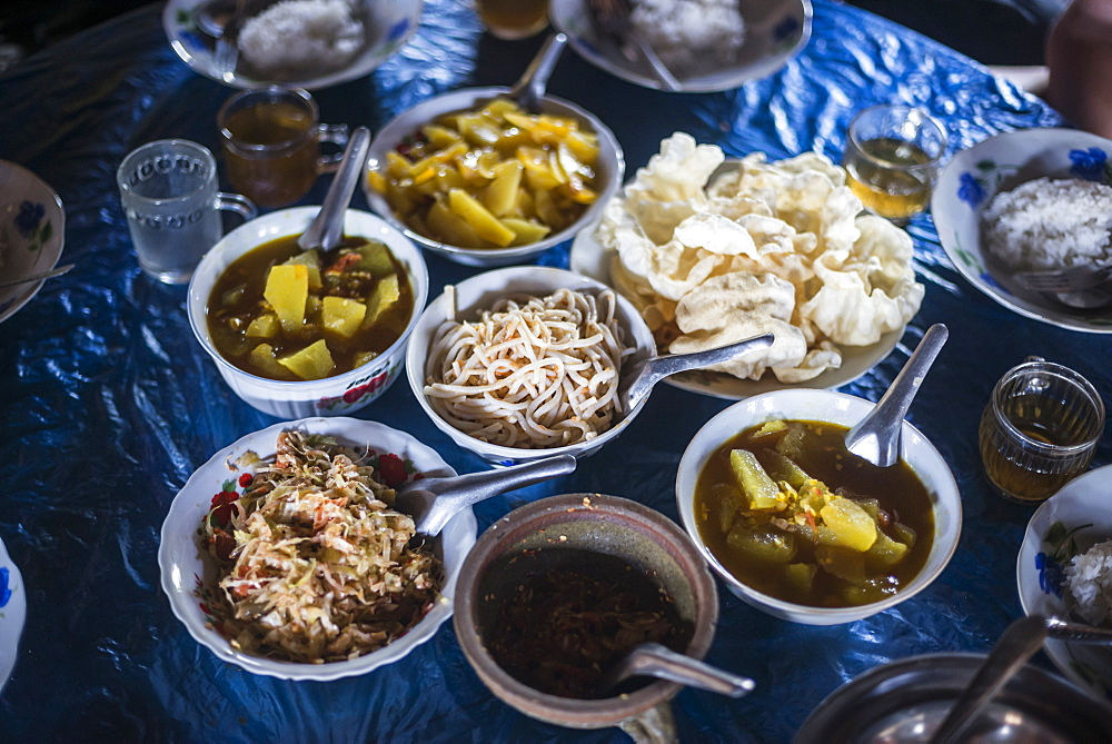 Burmese food in Pankam Village, a popular area for trekking in Hsipaw Township, Shan State, Myanmar (Burma), Asia