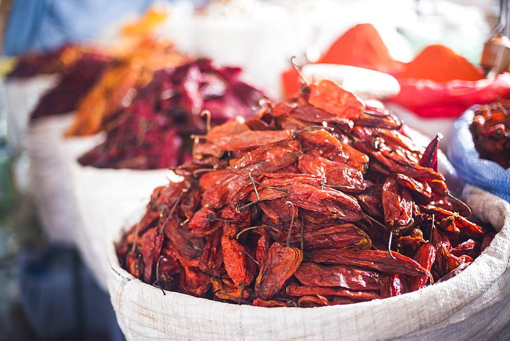 Chili peppers, Campesino Market (Mercado Campesino), Sucre, Bolivia, South America