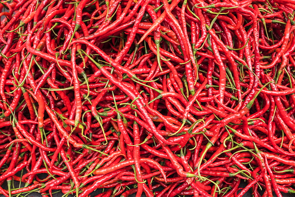 Chillies in Bukittinggi Market, West Sumatra, Indonesia, Southeast Asia, Asia