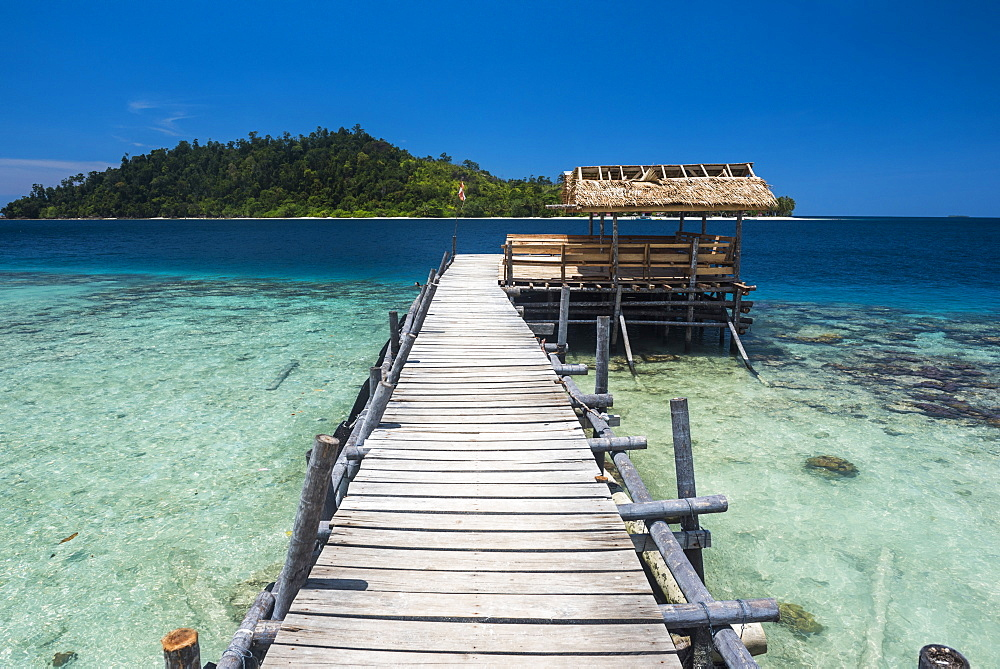 Pier at Twin Beach, a tropical white sand beach near Padang in West Sumatra, Indonesia, Southeast Asia, Asia