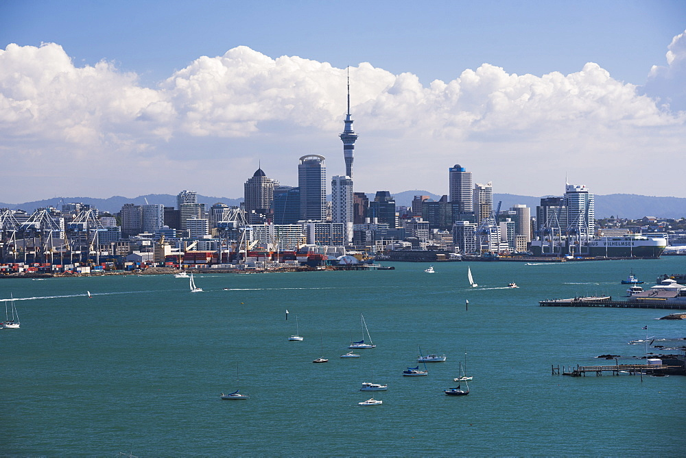 Auckland City skyline and Auckland Harbour seen from Devenport, North Island, New Zealand, Pacific