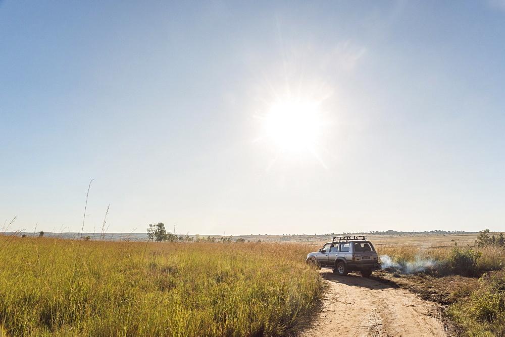 Four wheel drive driving at Isalo National Park, Ihorombe Region, Southwest Madagascar, Africa