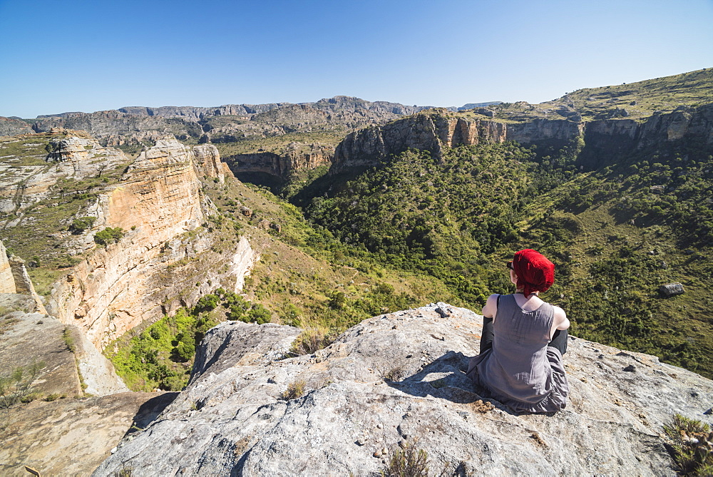 Tourist in Isalo National Park, Ihorombe Region, Southwest Madagascar, Africa