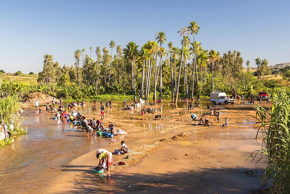 Panning for gold in Ilakaka, Ihorombe Region, Southwest Madagascar, Africa