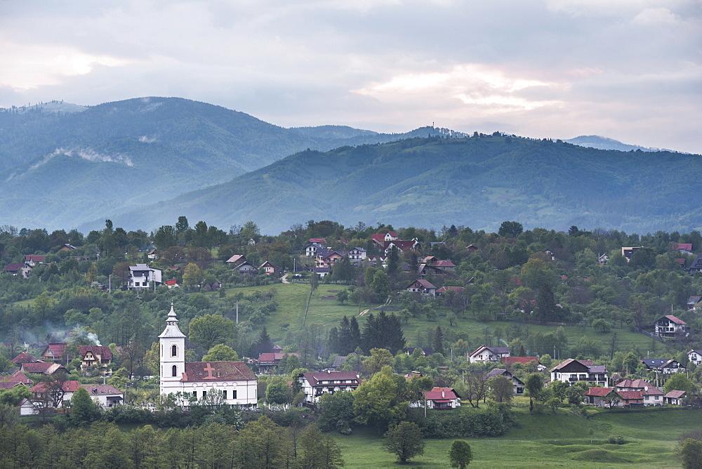 Romanian countryside surrounding Bran Castle at sunset, Transylvania, Romania, Europe
