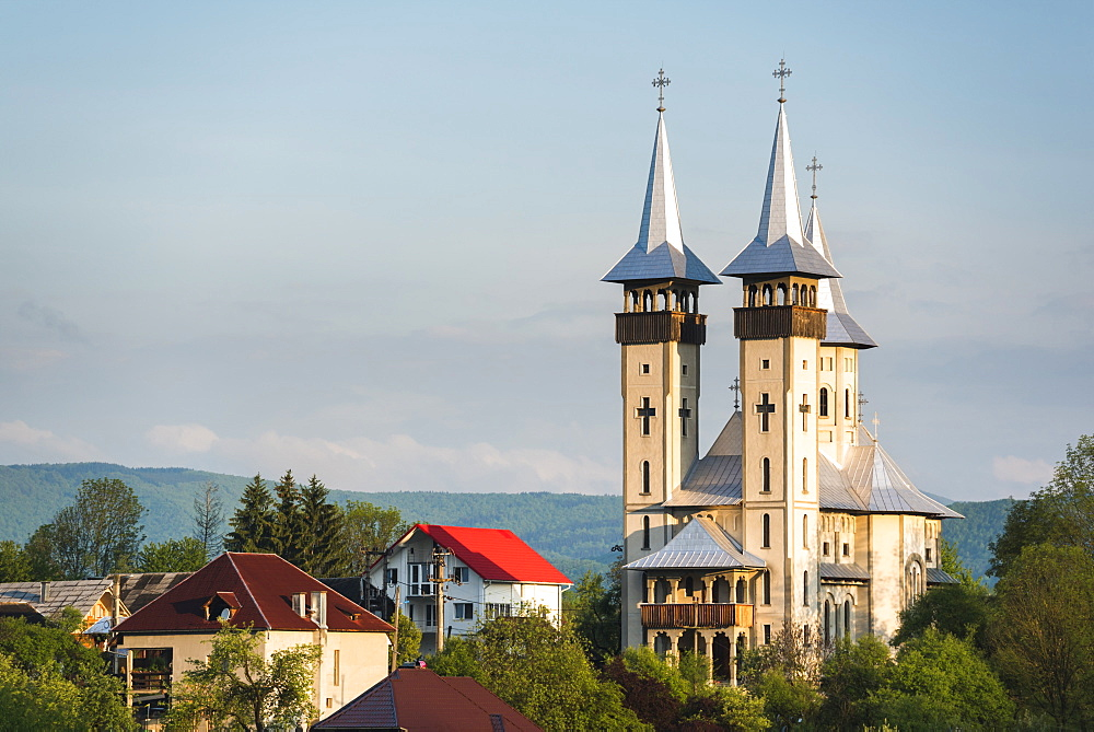 Orthodox Romanian church at sunrise, Breb (Brebre), Maramures, Romania, Europe