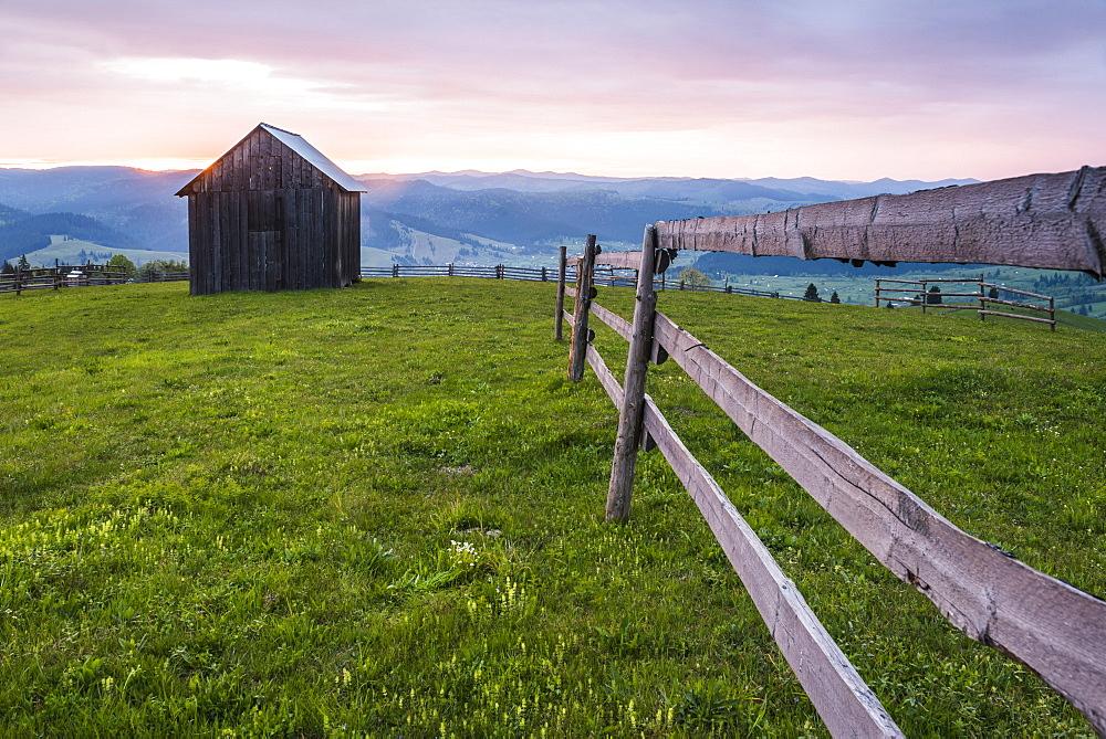 Rural Romanian landscape at sunrise in the Bukovina Region (Bucovina), Paltinu, Romania, Europe