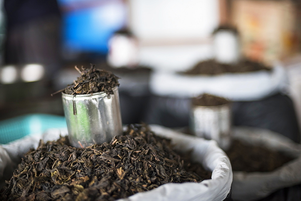 Tea leaves in Hpa An Morning Market, Kayin State (Karen State), Myanmar (Burma), Asia