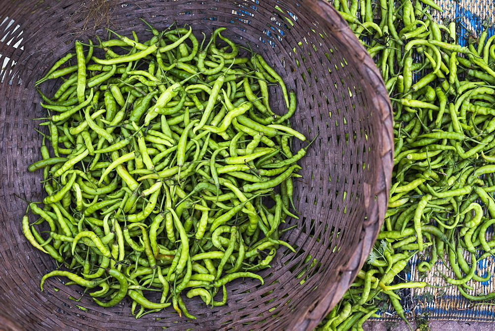 Green chillies in Hpa An Morning Market, Kayin State (Karen State), Myanmar (Burma), Asia