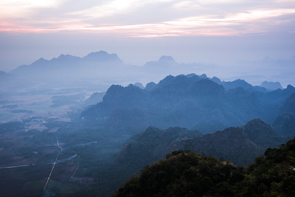View from Mount Zwegabin at sunrise, Hpa An, Kayin State (Karen State), Myanmar (Burma), Asia
