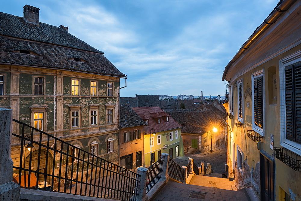 Sibiu, a 12th century Saxon city at night, Transylvania, Romania, Europe