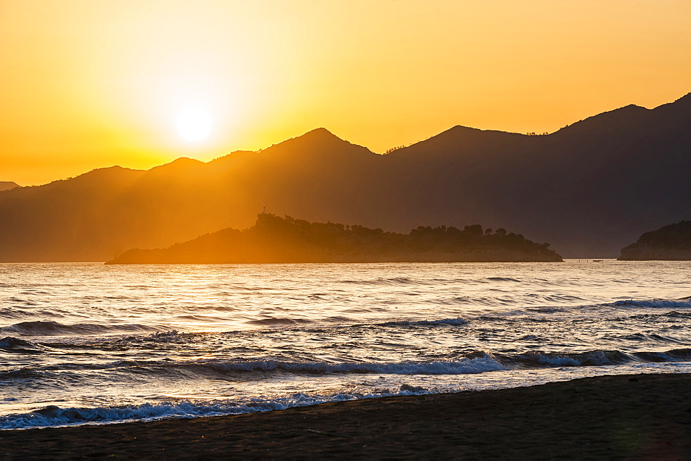 Iztuzu Beach at sunset, Dalyan, Mugla Province, Anatolia, Turkey, Asia Minor, Eurasia