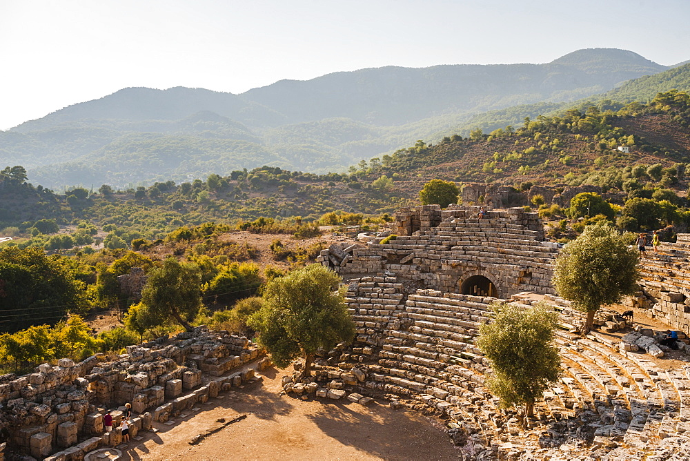 Amphitheatre at the ancient ruins of Kaunos, Dalyan, Mugla Province, Anatolia, Turkey, Asia Minor, Eurasia