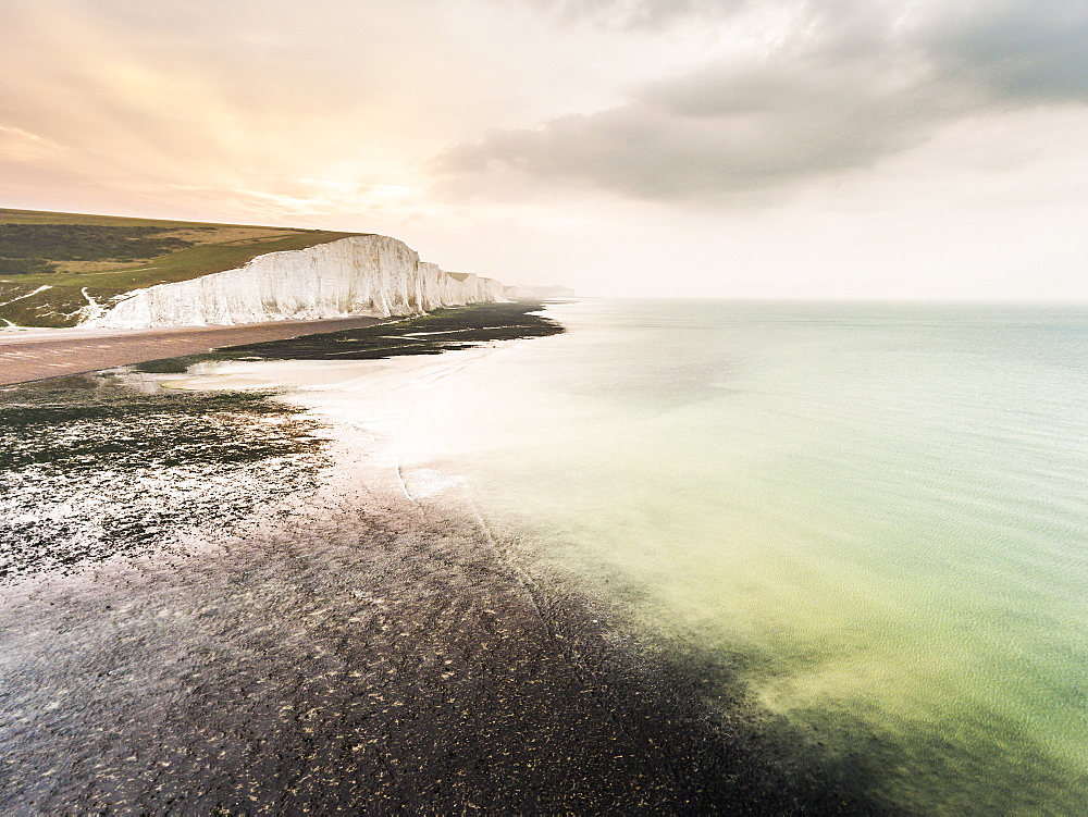 The Seven Sisters chalk cliffs, South Downs National Park, East Sussex, England, United Kingdom, Europe (Drone) - 1109-3014