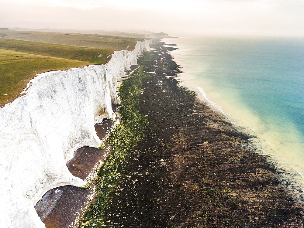 The Seven Sisters chalk cliffs, South Downs National Park, East Sussex, England, United Kingdom, Europe (Drone) - 1109-3015