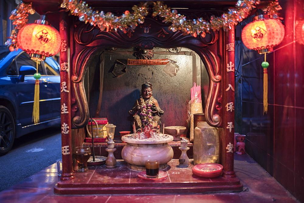 Shrine in Chinatown at night, Kuala Lumpur, Malaysia, Southeast Asia, Asia