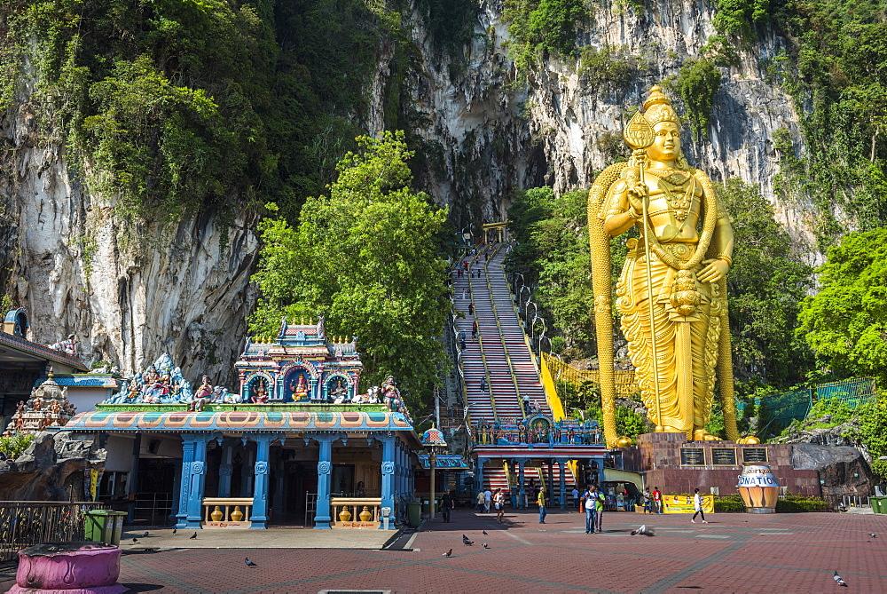 Lord Murugan statue, the largest statue of a Hindu Deity in Malaysia at the entrance to Batu Caves, Kuala Lumpur, Malaysia, Southeast Asia, Asia