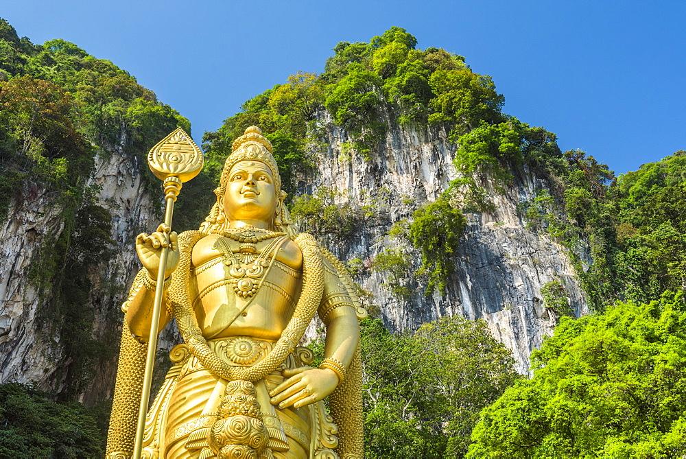 Lord Murugan Statue, the largest statue of a Hidu Deity in Malaysia at the entrance to Batu Caves, Kuala Lumpur, Malaysia