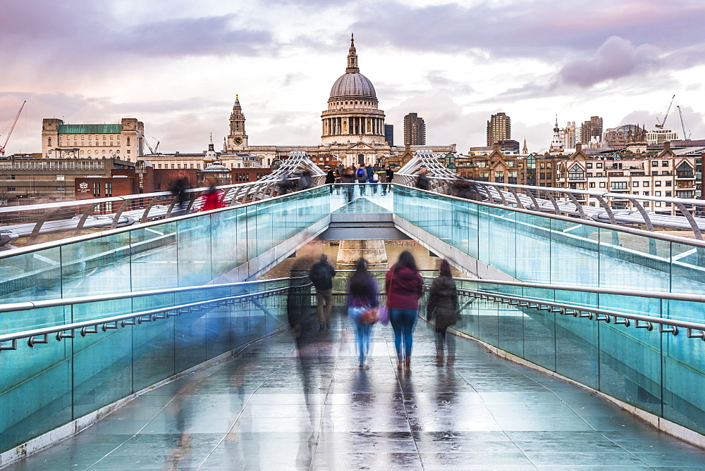 St. Pauls Cathedral at sunset, seen across Millennium Bridge, City of London, London, England, United Kingdom, Europe