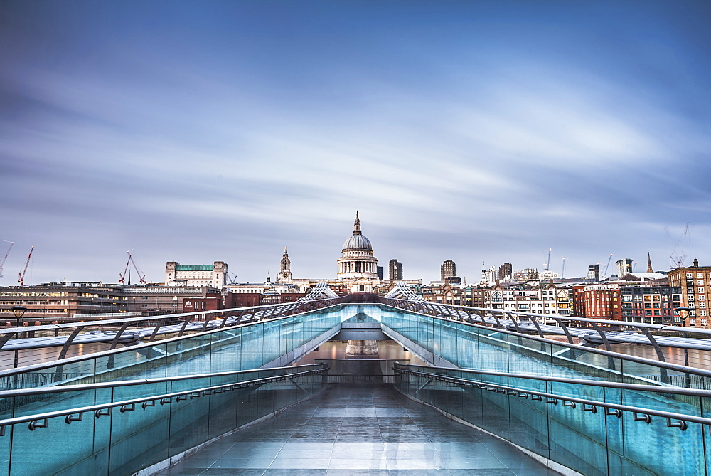 St. Pauls Cathedral, seen across Millennium Bridge, City of London, London, England, United Kingdom, Europe - 1109-3061