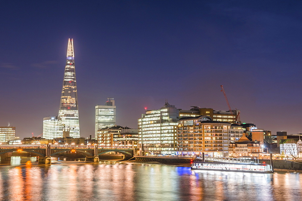 The Shard and the River Thames at night, London Borough of Southwark, London, England, United Kingdom, Europe - 1109-3064