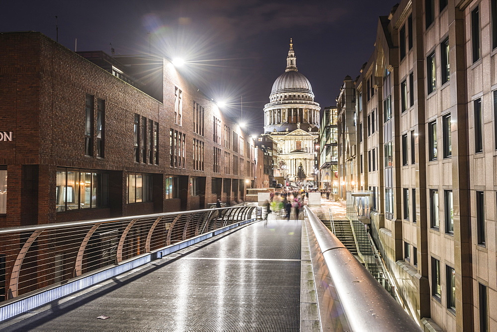 St. Pauls Cathedral at night, seen across Millennium Bridge, City of London, London, England, United Kingdom, Europe - 1109-3066