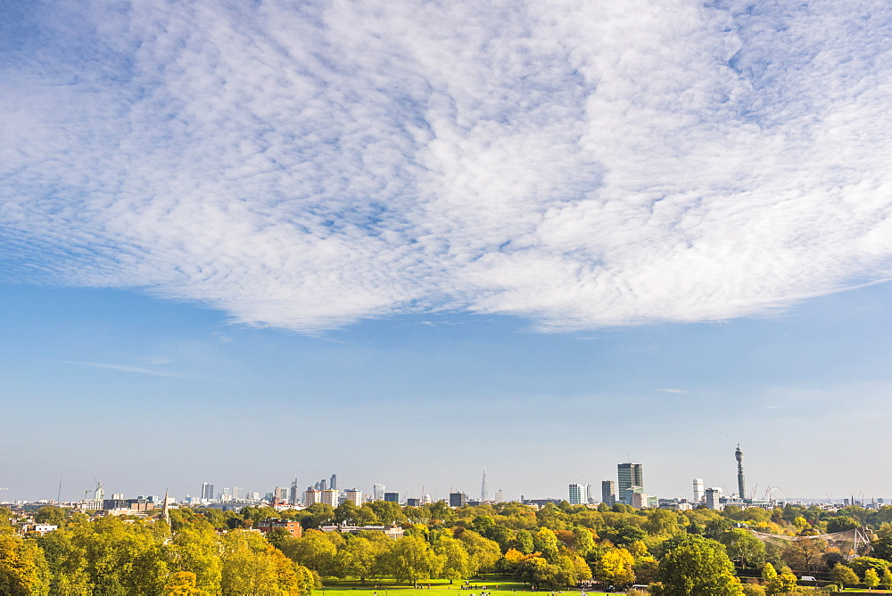 City skyline in autumn seen from Primrose Hill, Chalk Farm, London Borough of Camden, London, England, United Kingdom, Europe