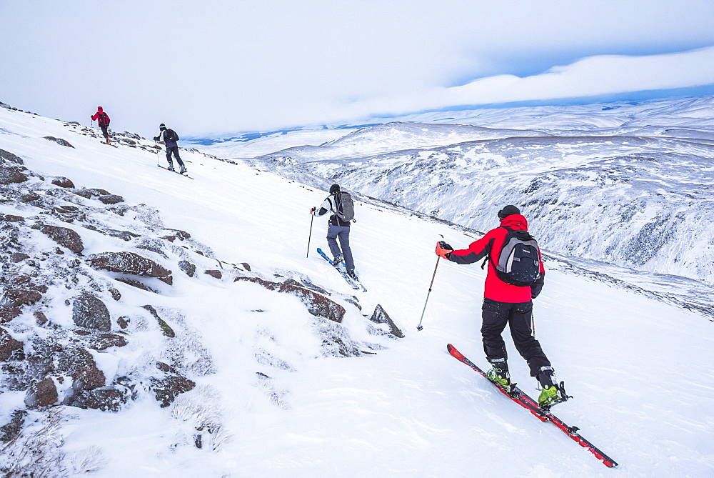 Ski touring at CairnGorm Mountain Ski Resort, Aviemore, Cairngorms National Park, Scotland, United Kingdom, Europe