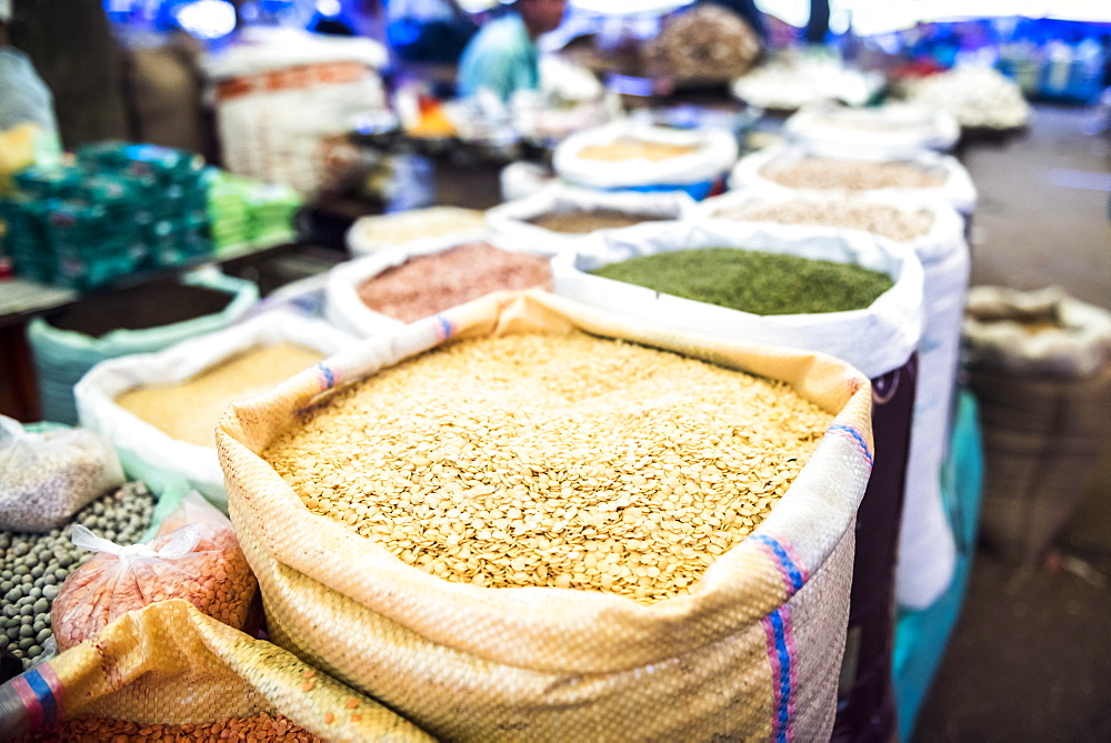 Lentils for sale in Chaudi Market, Goa, India, Asia