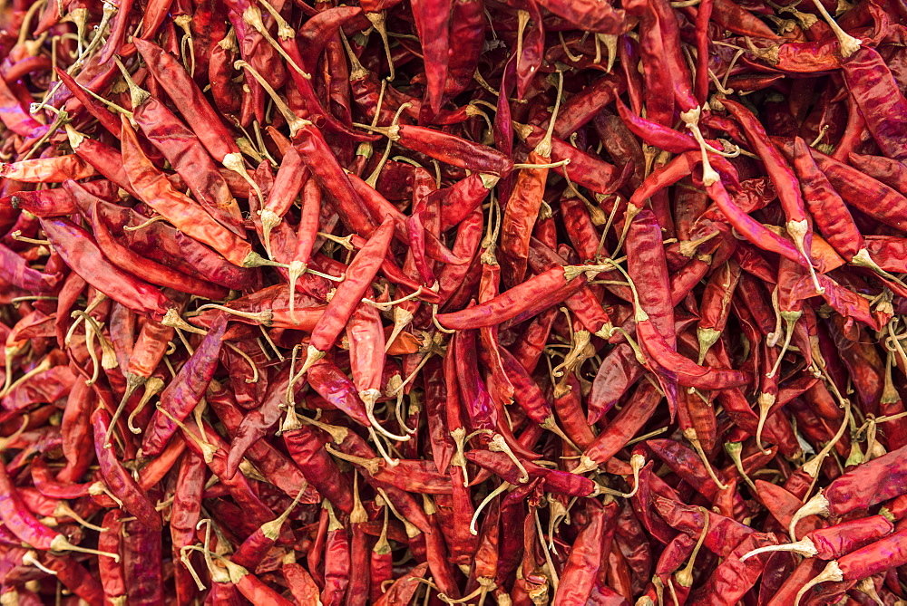 Red chillies for sale in Chaudi Market, Goa, India, Asia