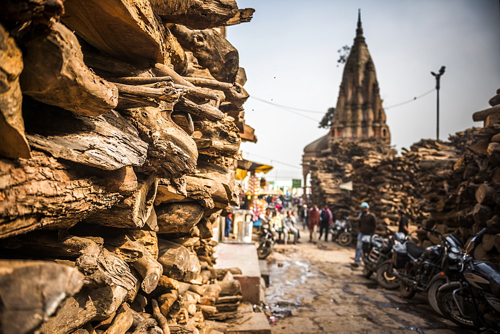 Wood for cremation at the burning ghats, Varanasi, Uttar Pradesh, India, Asia - 1109-3154