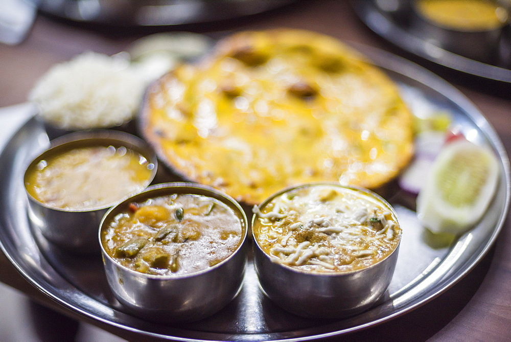 Thali, a traditional food of India, Varanasi, Uttar Pradesh, India, Asia