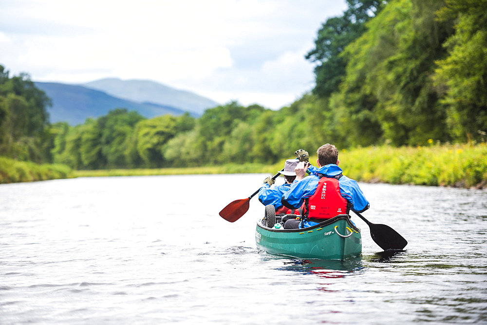 Canoeing the Caledonian Canal, near Fort William, Scottish Highlands, Scotland, United Kingdom, Europe