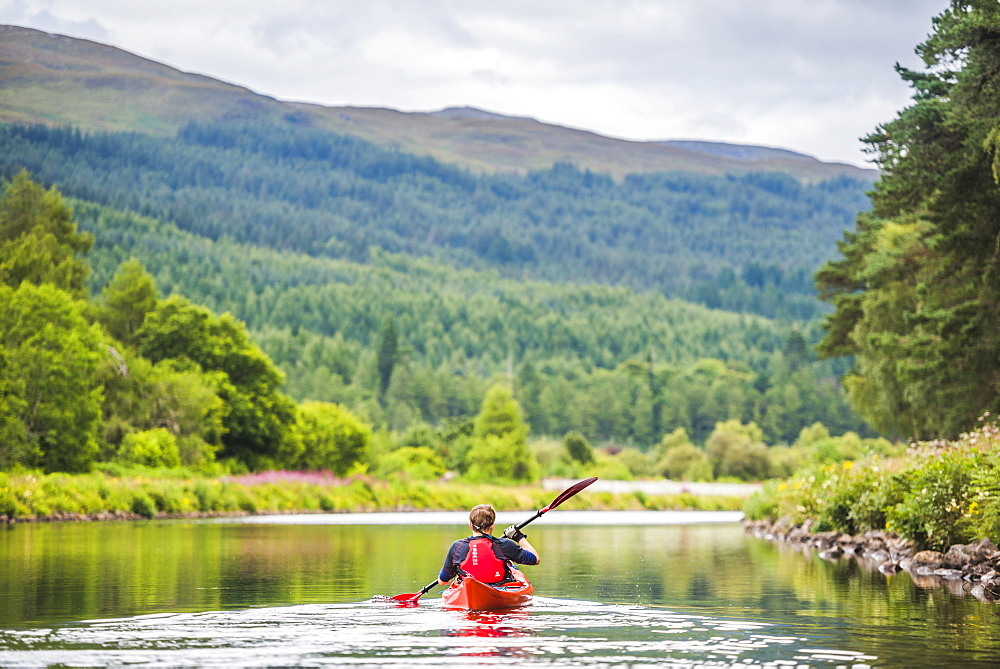 Canoeing the Caledonian Canal, near Fort Augustus, Scottish Highlands, Scotland, United Kingdom, Europe