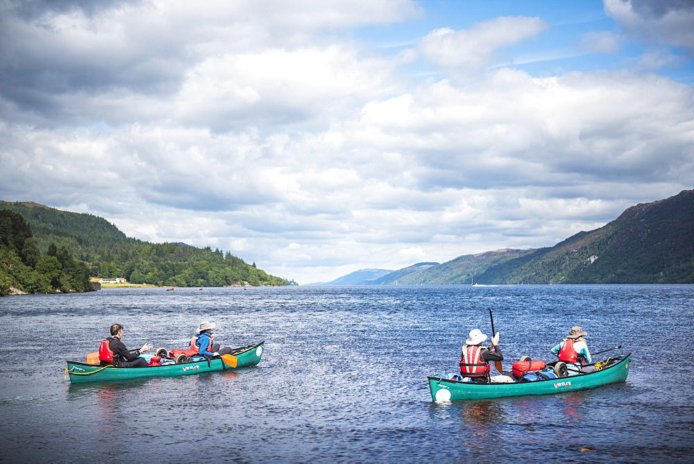Canoeing Loch Ness section of the Caledonian Canal, near Fort Augustus, Scottish Highlands, Scotland, United Kingdom, Europe