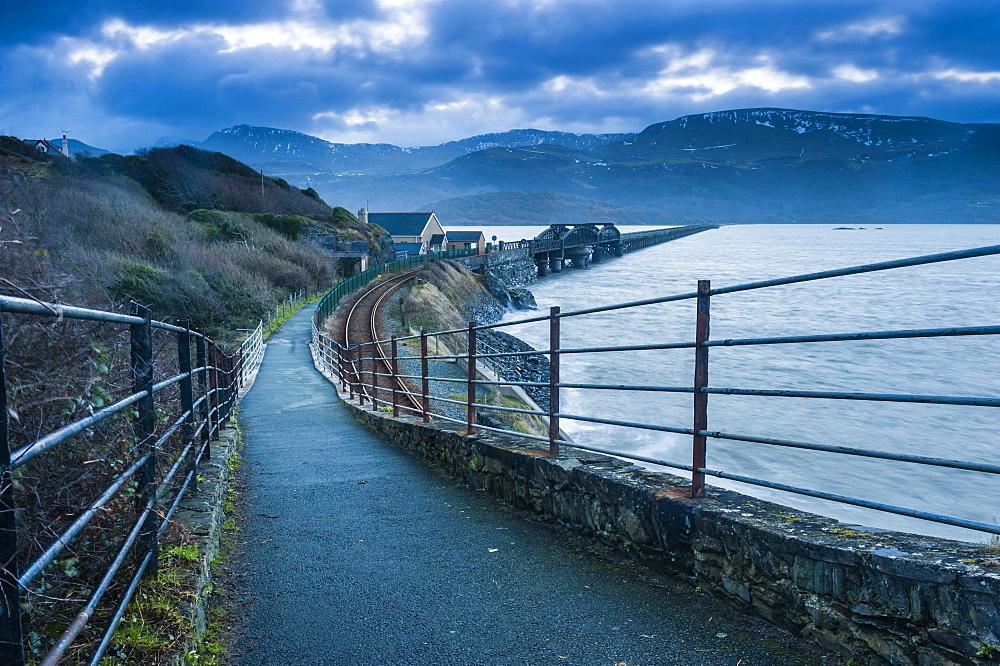 Barmouth Bridge at sunrise, Snowdonia National Park, Gwynedd, North Wales, Wales, United Kingdom, Europe