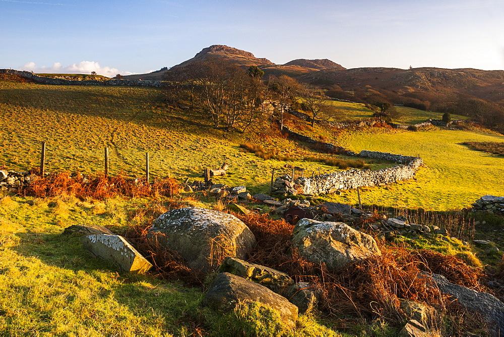 Snowdonia National Park landscape at sunrise, near Porthmadog, North Wales, Wales, United Kingdom, Europe