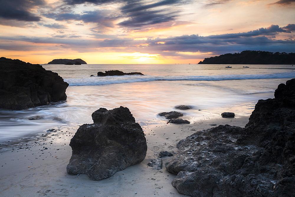 Playa Espadilla Beach at sunset, Manuel Antonio, Pacific Coast, Costa Rica, Central America