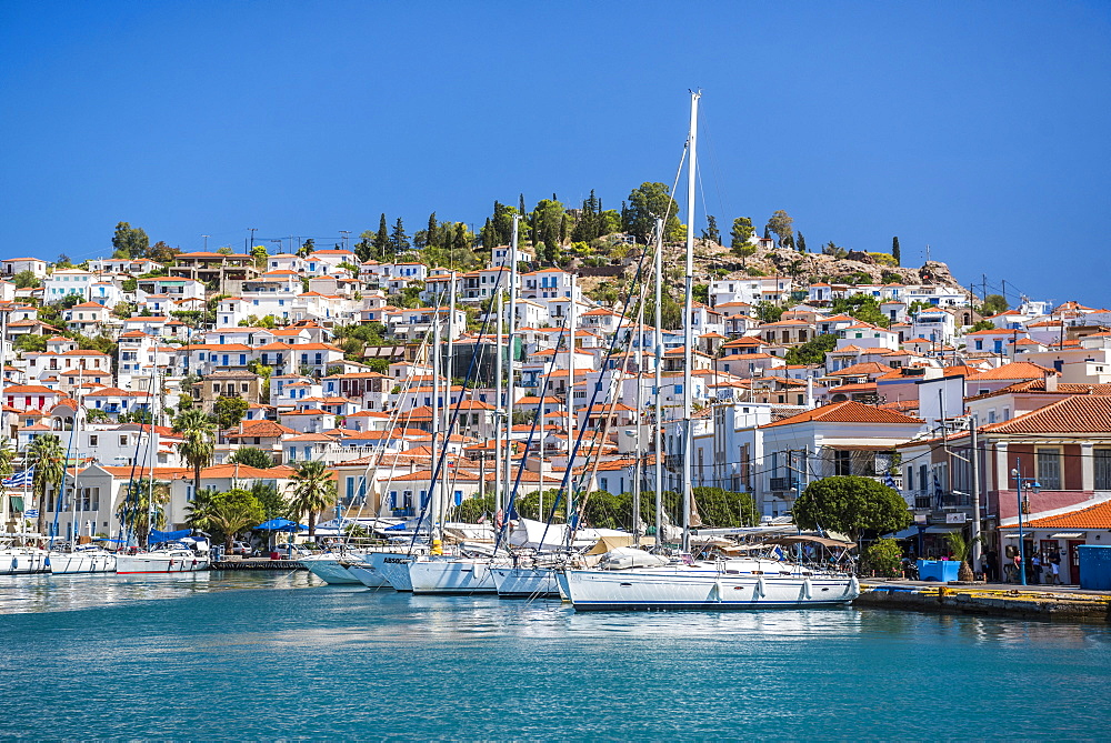 Sailing boats in Poros Island port, Saronic Island, Aegean Coast, Greek Islands, Greece, Europe