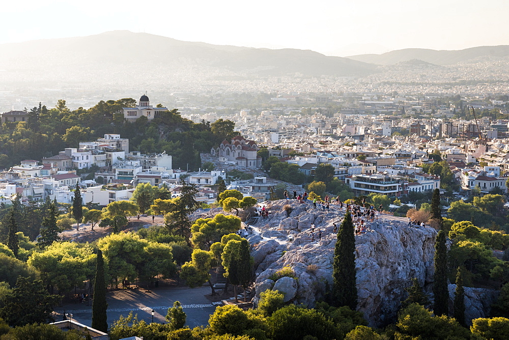 Areopagus Hill, Athens at sunset, Attica Region, Greece, Europe