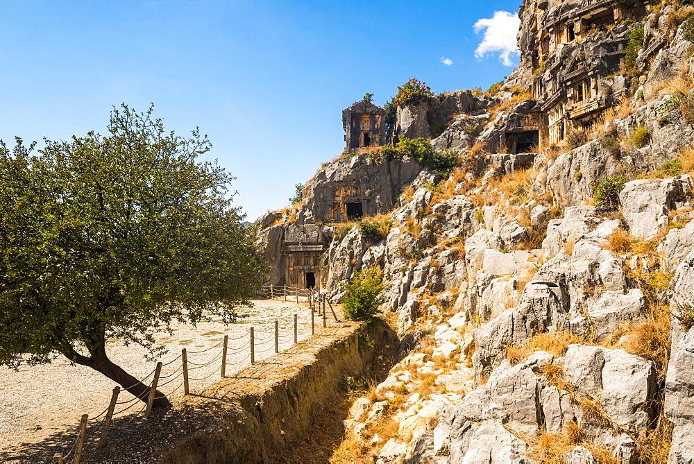 Myra Rock Tombs, ruins of the anceint necropolis, Demre, Antalya Province, Lycia, Anatolia, Turkey, Asia Minor, Eurasia - 1109-3425