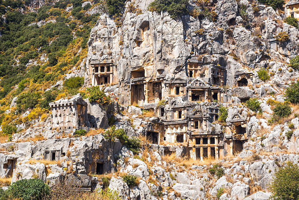 Myra Rock Tombs, ruins of the anceint necropolis, Demre, Antalya Province, Lycia, Anatolia, Turkey, Asia Minor, Eurasia - 1109-3427