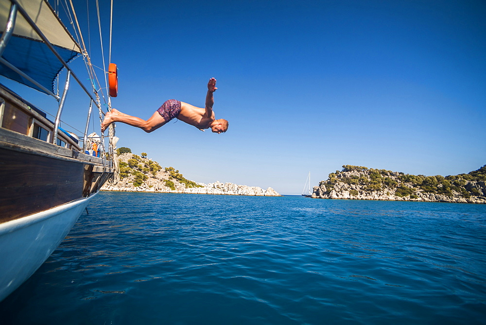 Diving off a Gulet sailing boat cruise in Gokkaya Bay, Antalya Province, Lycia, Anatolia, Mediterranean, Turkey, Asia Minor, Eurasia