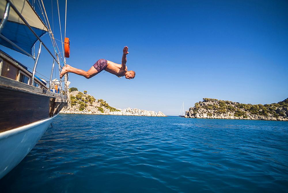Diving off a Gulet sailing boat cruise in Gokkaya Bay, Antalya Province, Lycia, Anatolia, Mediterranean, Turkey, Asia Minor, Eurasia - 1109-3430